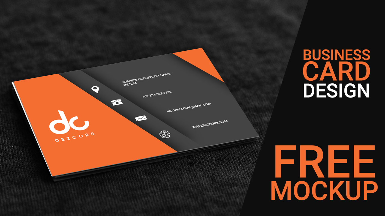 orange gray 3d business card mockup psd free download tutorial